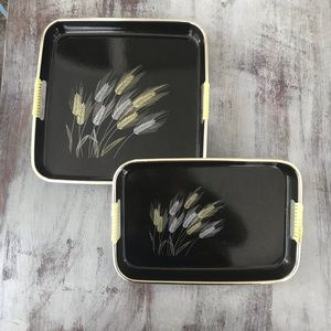 Vintage Black Silver Wheat Tray Bundle Decor